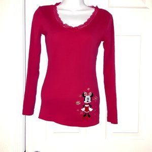 Disney Red embroidered Minnie lace detail top XS